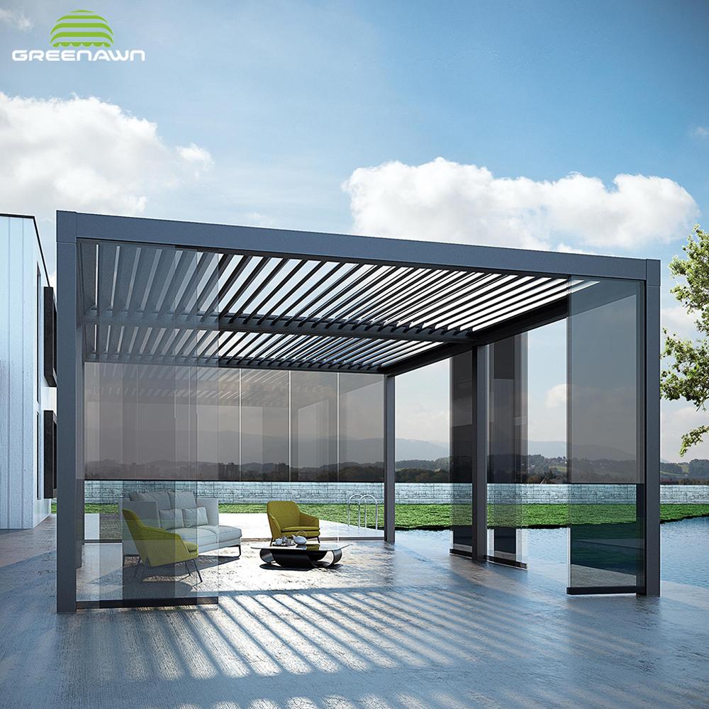 Luar Bermotor Aluminium Paduan Logam Framed Taman Pergola Louvered