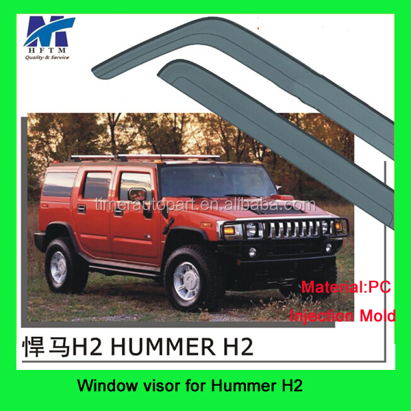 Top quality 12 months warranty PC material car window wind deflector for Hummer H2 new