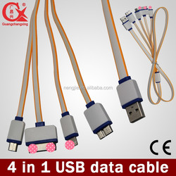 4in1 usb cable for mobile 8pin 30pin micro 5pin cable