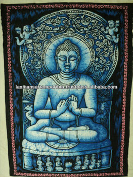 blue buddha batik wall hangings