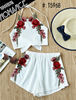 women summer Rose Applique Bow Tie Open Back top and shorts set