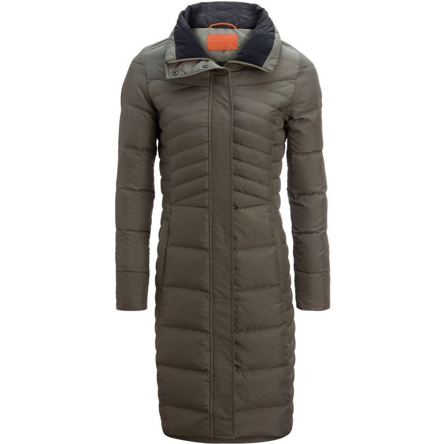 Women's light hooded long duck down jacket for winter outdoor sport wear
