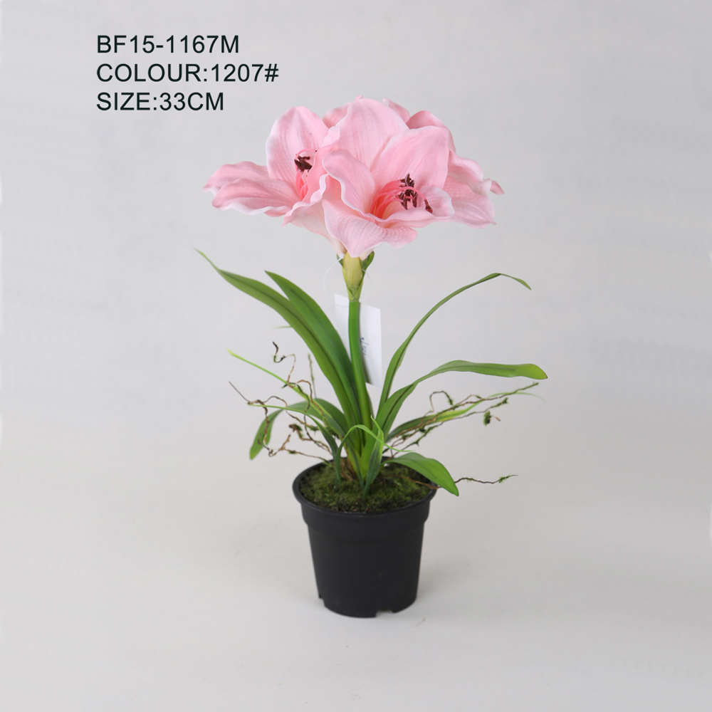 Artificial Hippeastrum Flowers,Cheap Wholesale Factory Direct Artificial Amaryllis Flower for Festival Decor , Pink Amaryllis