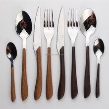 HOT SALE royal black handle original stainless steel flatware cutlery set with colorful plastic handle