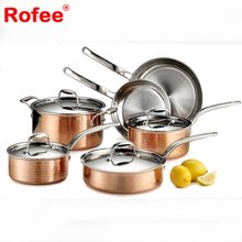 Kitchen Cookware 10 PCS Non Sticking Pot And Pan Copper Cookware Set