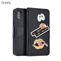 For iphone X PU Leather Wallet Flip Cover Case with Credit Card Holder Embroidery Pattern Case for iphone X