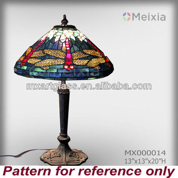 MX000014 china wholesale dragonfly tiffany style table lamp shade for home decoration