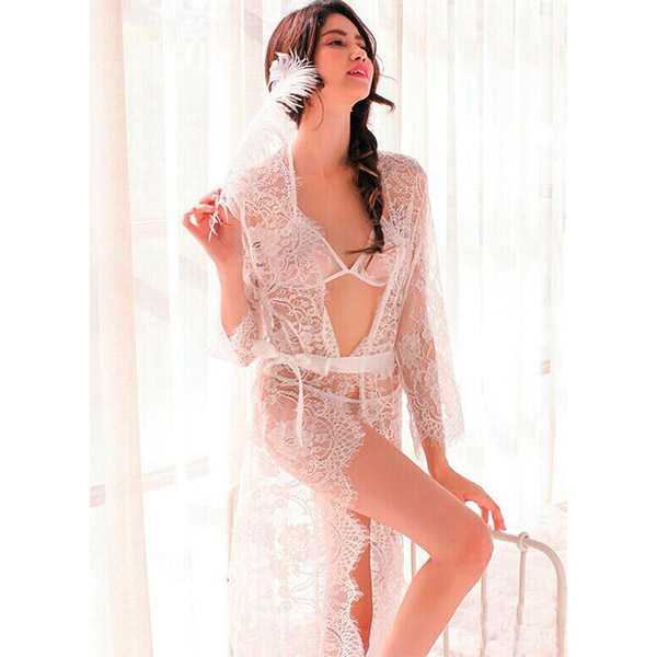 Latest V Neck Long Sleeves See Through Women Long Gown Red Lace Sexy Lingerie Ladies Sleeping Gown