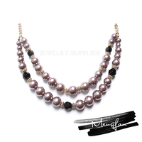 Alibaba Wholesale women black bead long chain necklace