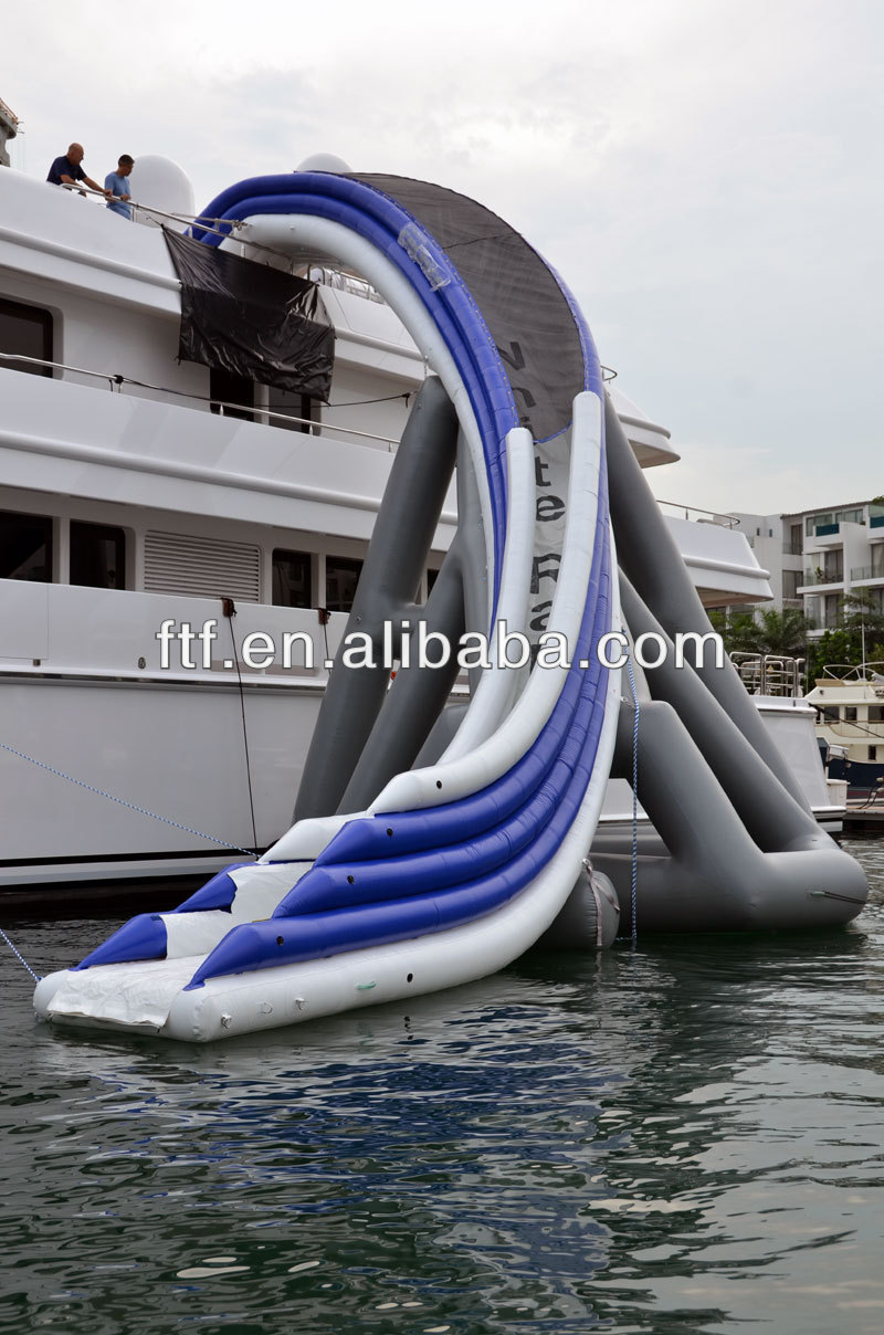 new inflatable water curved slides for yachts