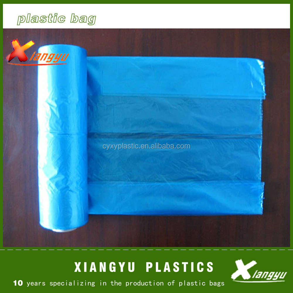 Sky blue poly garbage bags on roll/garbage bag/poly bag