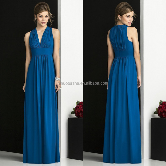 2015 Blue Bridesmaid Dress V-Neck High Waist Sleeveless Ruched Bodice Zipper Full-Length Chiffon Column Prom Party Gown NB1086
