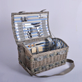 Hot-selling Handmade wholesale wicker willow picnic basket with fabric liner for 2 people