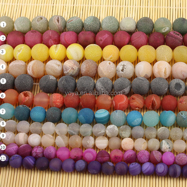 AB0223 Hot sale Geode druzy Agate stone beads,frosted matte ice agate beads,semi precious gemstone beads