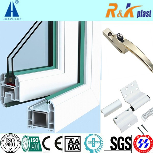 European casement uPVC window with double glazing glass and good performance
