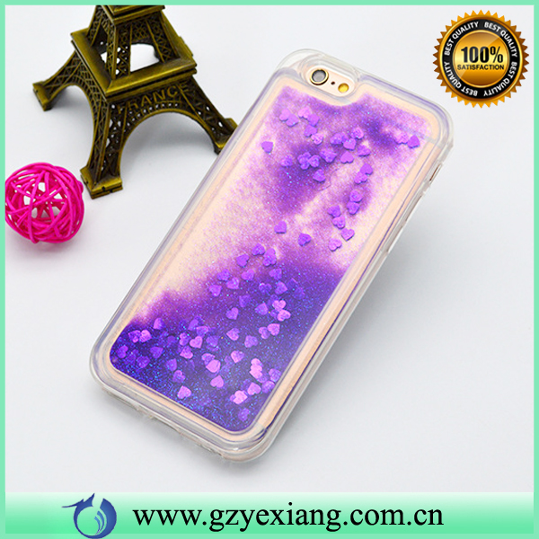 Purple Color Liquid Glitter Phone Case For Moto G Turbo XT1254 TPU Back Cover