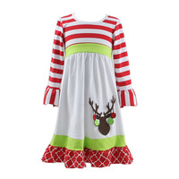 Hot Selling Christmas dress with Deer Red Stripe White Color Cotton Boutique Fancy Christmas Children Girl Dress