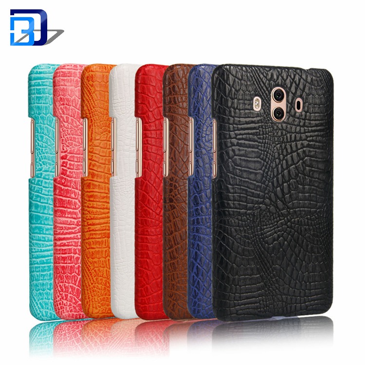 Vintage Premium PU Leather Crocodile Textured Hard Back Cover Ultra Slim PC Shell Protective Cell Phone Case For Huawei Mate 10