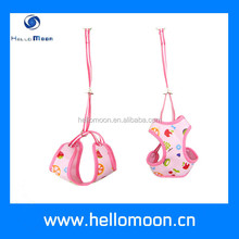 pink unique cloth printed dog clothes pet harness pattern and leash - info@hellomoon.cn