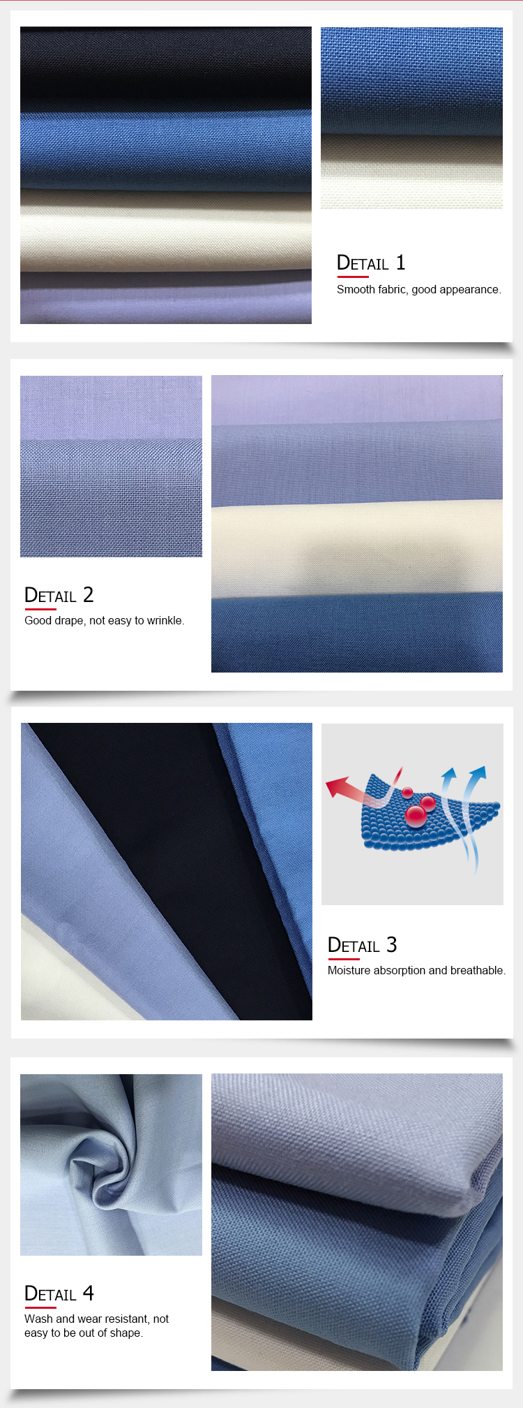190gsm 92*48 Plain dyed rayon polyester material uniform fabric