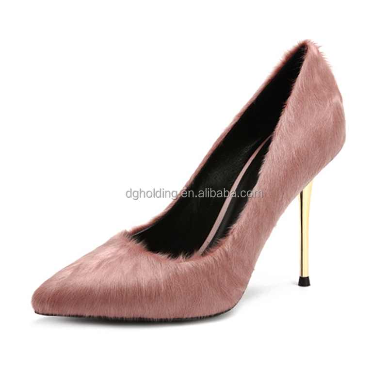 New fashion pink color ladies dress shoes fancy gold thin heel party high heels