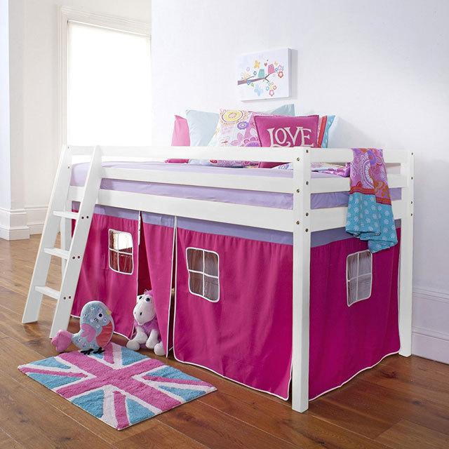 Boys and girls children wooden cabin midsleeper bed in white