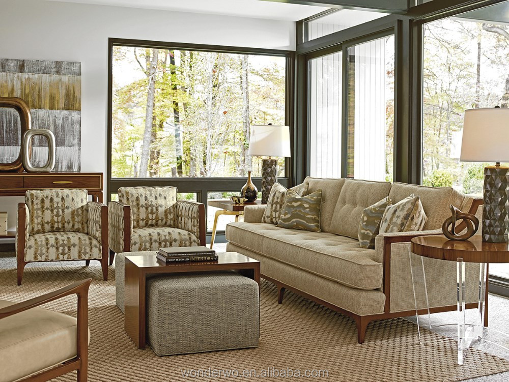 Barclay Sofa Wood-trimmed Sofa Button Tufted Living Room Furniture ...