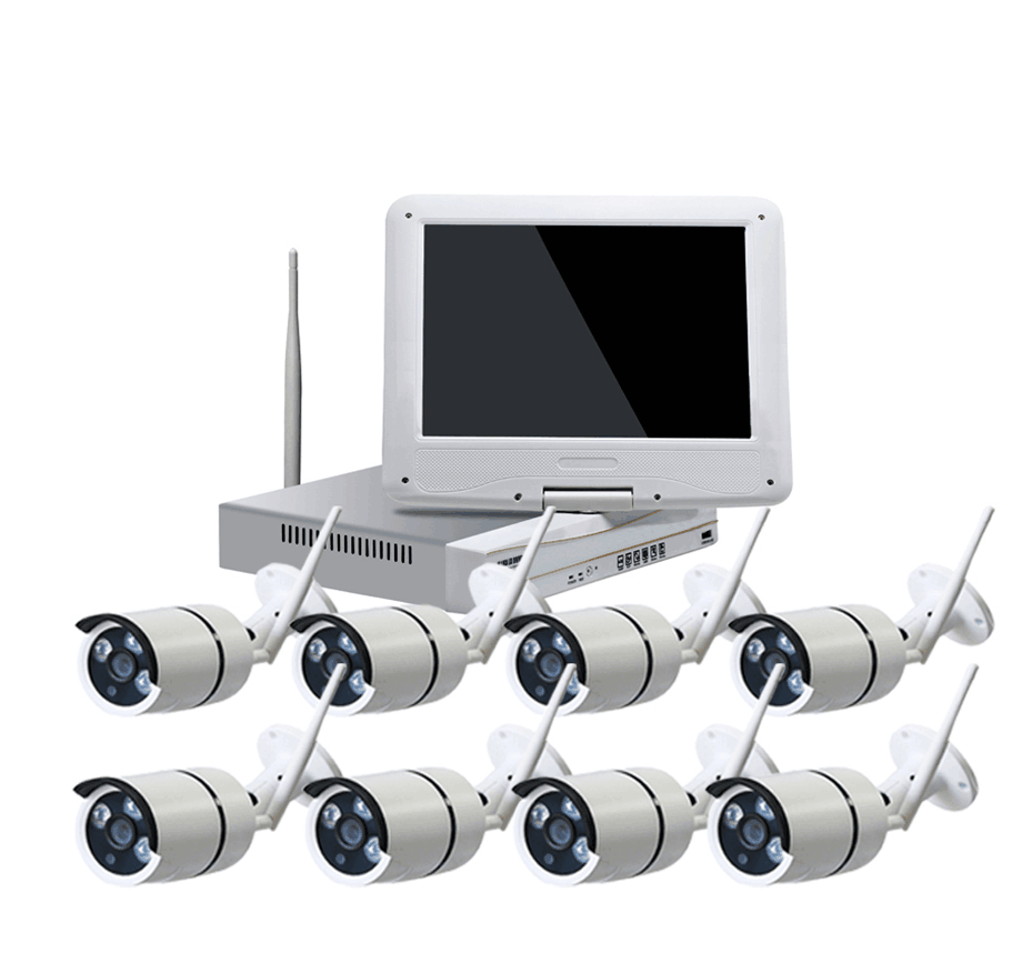 LCD monitor wirelss ip camera kit 8ch 1080p nvr kit with screen