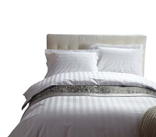 OEM Factory Wholesale Hotel Collection Dubai Hotel 3CM White Stripe Flat Sheet Duvet Cover Bedding <strong>Set</strong>