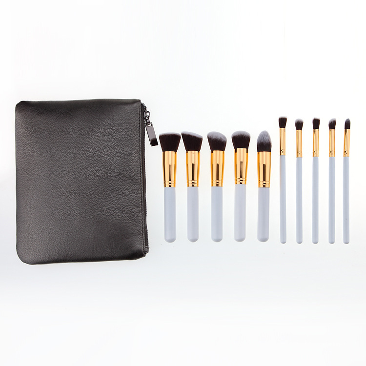 OEM private label 10pcs white golden cosmetic makeup brush set with leather cosmetic bag