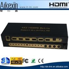 High Speed 4K*2K HDMI True Matrix Switcher 4 in 2 out, Hdmi Matrix 4x2 2160P China Wholesale Price