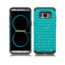 rhinestone case for samsung galaxy S8,pc silicone cover for galaxy S8