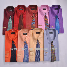 Stock lot Men shirt party shirt designs for men long sleeve shirt with tie