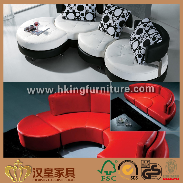 Plush Mid Century Europa Decorative Pillows Hotel Lobby Combination Big Half Round Shape Sofa Furniture Movable Lounge Footrest