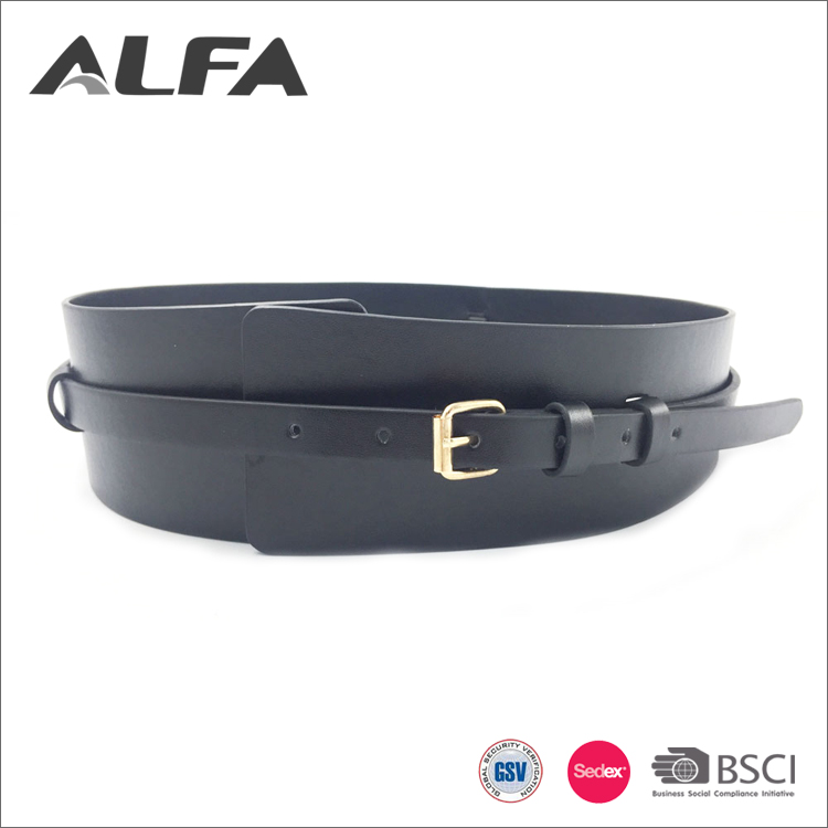 Alfa Good Quality Fashion 75MM Big Wide Pu Dress Waist Corset Belt
