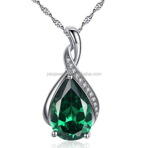 925 Sterling Silver Necklace Pear Cut Created Emerald Pendant