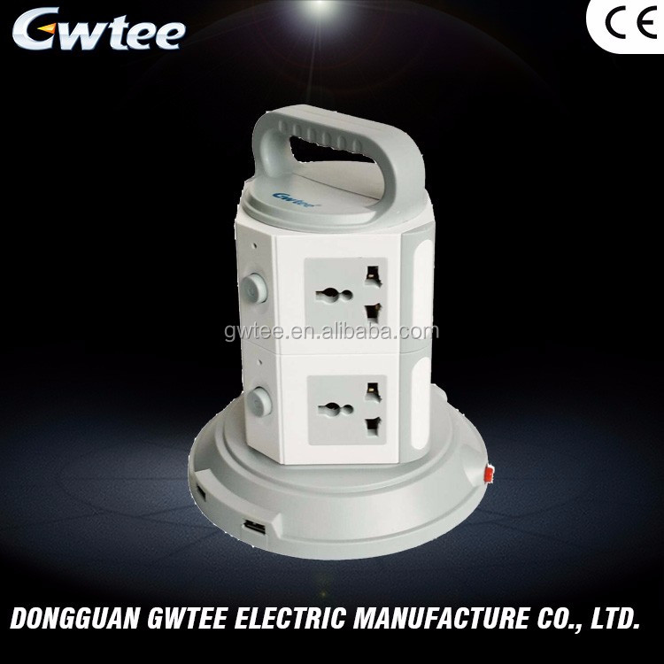 Top consumable products Gwtee multiple outlets GT-372 tower smart usb socket