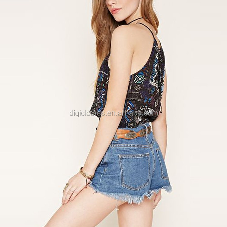 Wholesale Price Custom Cutout Back Cami Sexy Abstract Ornate Print Bulk Camisole Tops