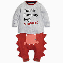 Autumn wear cute dinosaur model boys shirts and pants sets