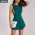 2017 Summer Latest Casual Green backless Pleated Mini Womens Dresses