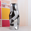 wholesale ceramic silver hexagonal vase for table decor, geometric terrarium vase