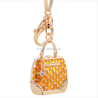 Promotional Charm Gold Plated big Hand bag Metal Keychain for Women