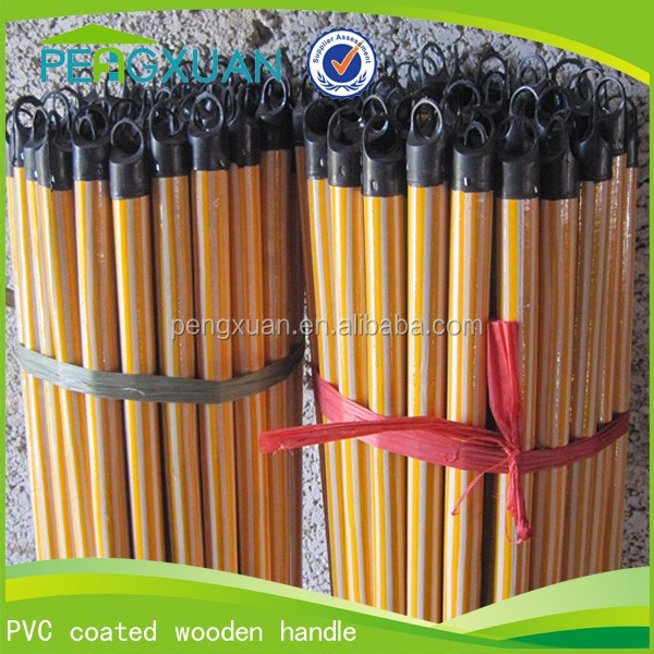 PVC Coated 120cm 130cm Coloful Wooden Stick Yellow Broom Stick