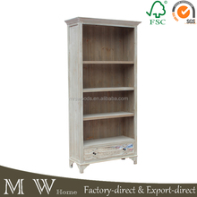 3 shelf 1 smoked mirrored drawer solid wood boat wood bookcase, rustic furniture bookcase, solid wood bookcase wall units