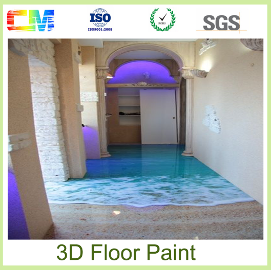 CM Paint oil resistance excellent stain epoxy liquid 3d floor paint with low cost