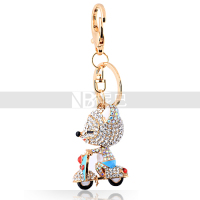 Lovely Animal Alloy Keychain Cartoon Fox in Motorcycle Shining Crystal Pendant Accessories