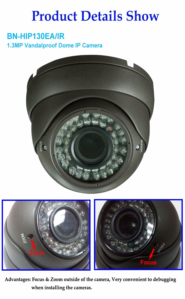 H.264 1.3MP Dome indoor CCTV ip dome camera with 30M IR Distance