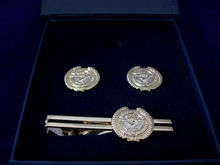 Customed Gold Fist Tie Clip And Cufflink Set With Black Paper Box