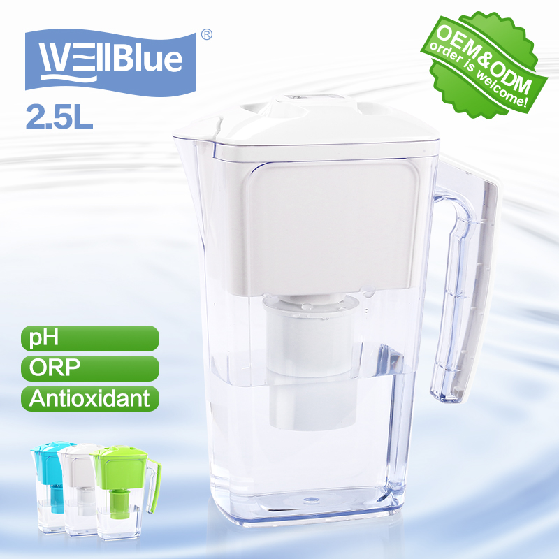 Alkaline water filter pitcher with coconut shell activated carbon