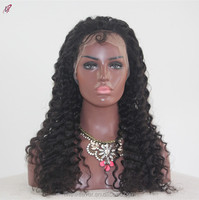 Unprocessed hair 100%Malaysian Human hair Deep wave full lace Wig natural color bleach knots deep wave with baby hair